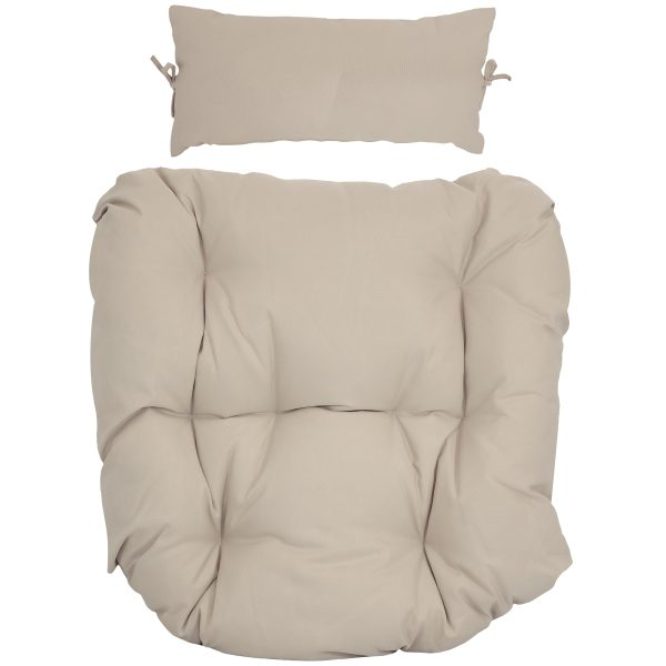 Sunnydaze Replacement Seat Cushion and Headrest Pillow for Danielle Egg Chair, Beige
