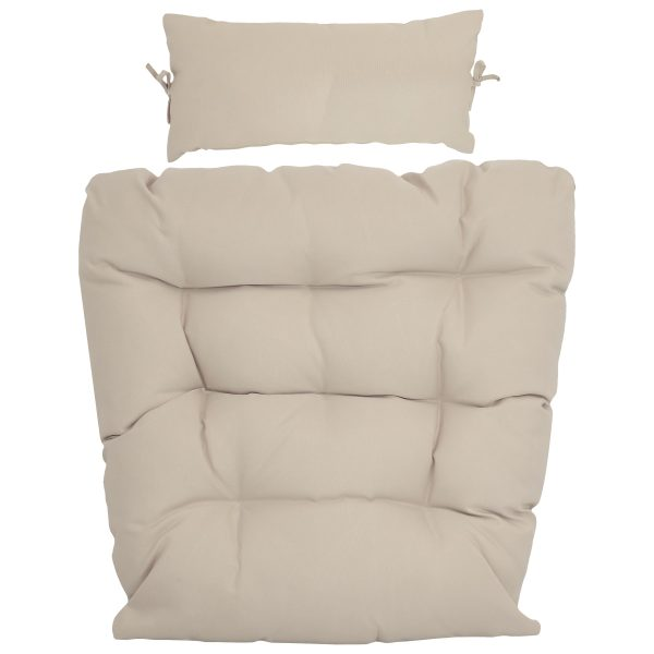Sunnydaze Replacement Seat Cushion and Headrest Pillow for Caroline Egg Chair, Beige
