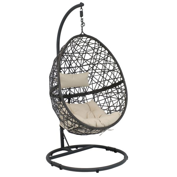 Sunnydaze Caroline Hanging Egg Chair with Steel Stand Set, Resin Wicker, Modern Design, Outdoor Use, Includes Cushion, Beige