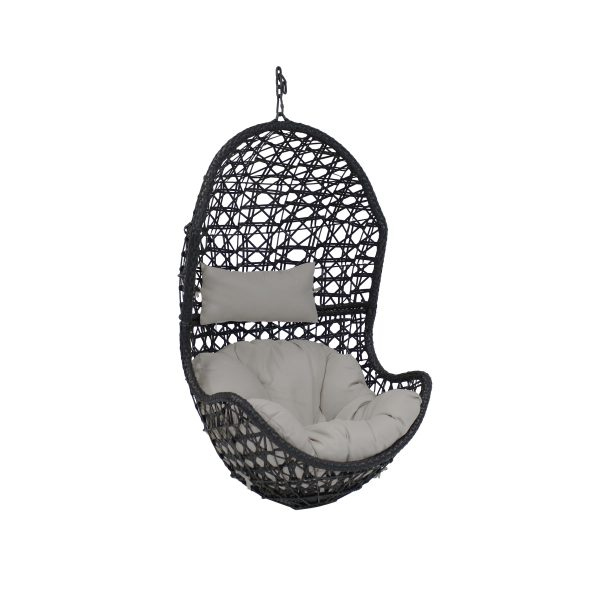 Sunnydaze Cordelia Hanging Egg Chair, Resin Wicker, Large Basket Design, Outdoor Use, Includes Cushion, Gray