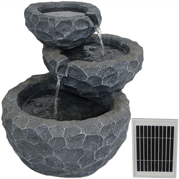 Sunnydaze 3-Tier Chiseled Basin Solar Fountain with Battery Backup - 17-Inch