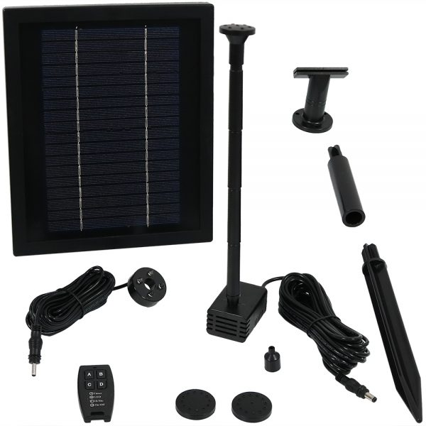 Sunnydaze Solar Pump and Solar Panel Kit with Battery Pack, Remote Control and LED Light, 65 GPH, 47-Inch Lift, No