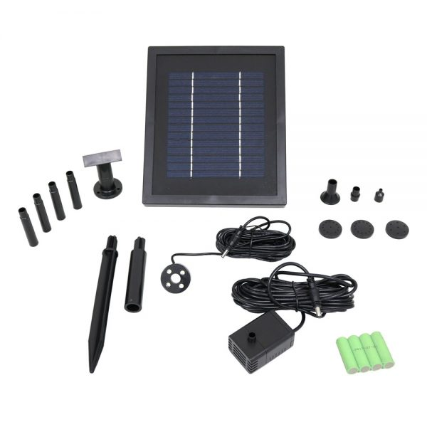 Sunnydaze Solar Pump and Solar Panel Kit With Battery Pack and LED Light, 65 GPH, 47-Inch Lift, No