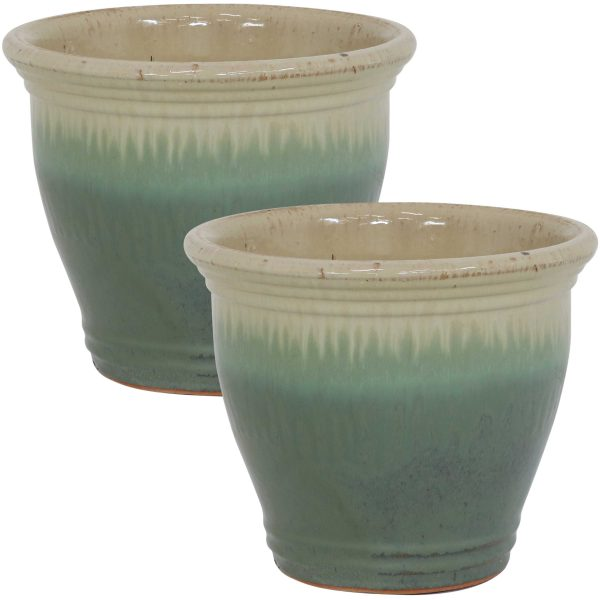 Studio Ceramic Indoor/Outdoor Planter - Seafoam - 11-Inch - Set of 2