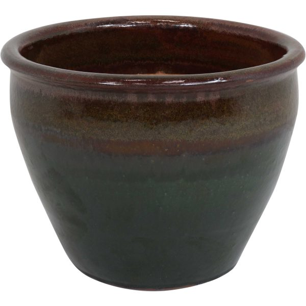 Chalet Ceramic Indoor/Outdoor Planter - Forest Lake Green - 15-Inch
