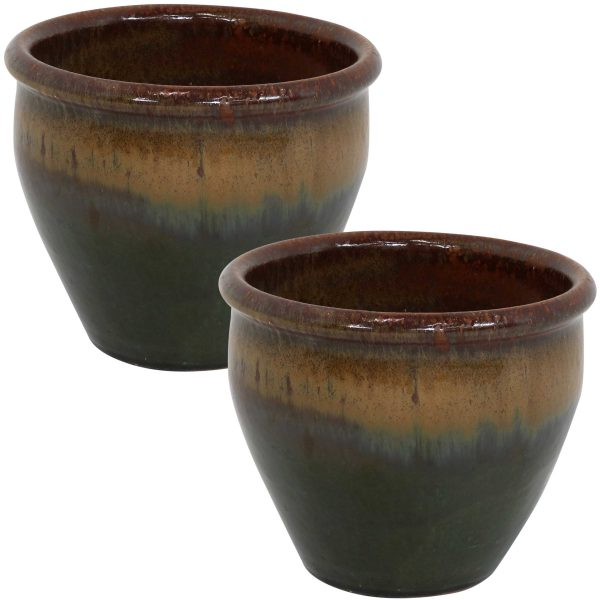Chalet Ceramic Indoor/Outdoor Planter - Forest Lake Green - 9-Inch - Set of 2