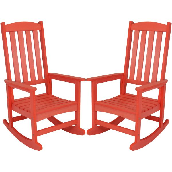 Sunnydaze All-Weather Rocking Chair with Faux Wood Design, Salmon, Set of 2