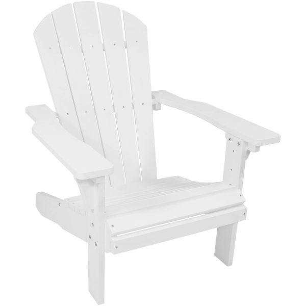 Sunnydaze All-Weather Adirondack Patio Chair with Faux Wood Design, White, Single Chair