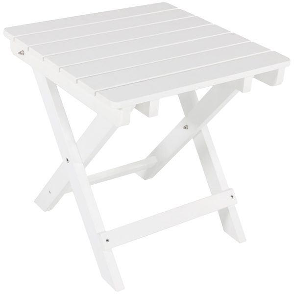 Sunnydaze All-Weather Folding Patio Side Table, Recycled HDPE Construction, White