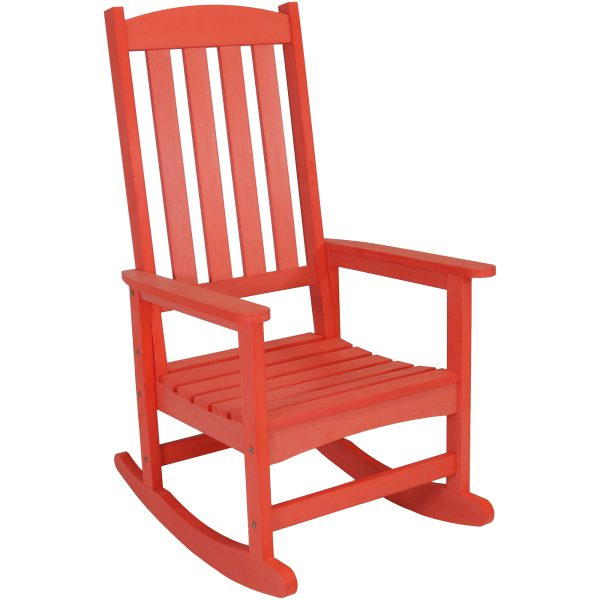 Sunnydaze All-Weather Rocking Chair with Faux Wood Design, Salmon, Single Chair