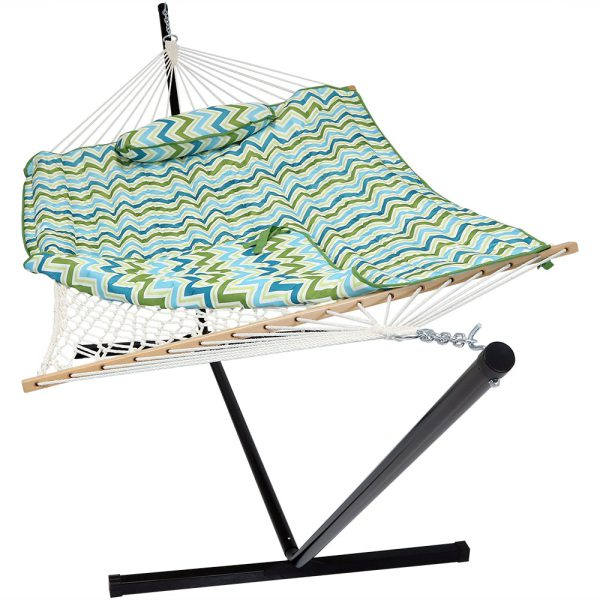 Sunnydaze Cotton Rope Hammock with 12 Foot Steel Stand, Pad and Pillow, 275 Pound Capacity, Blue & Green Chevron