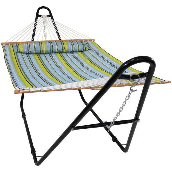 Sunnydaze Blue & Green Quilted Fabric 2 Person Hammock with Universal Stand