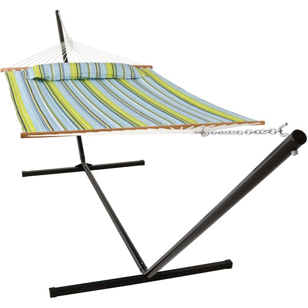 Sunnydaze 2 Person Freestanding Quilted Fabric Spreader Bar Hammock, Choose 12 or 15 Foot Stand, Blue and Green, 15-Foot Stand