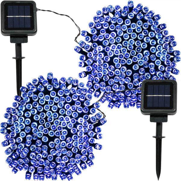Sunnydaze 200 Count LED Solar Powered String Lights, Blue, 2 Sets