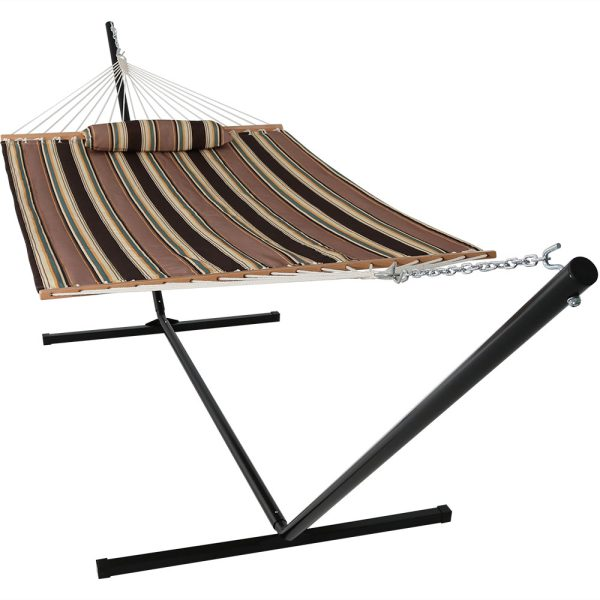 Sunnydaze 2 Person Freestanding Quilted Fabric Spreader Bar Hammock, Choose from 12 or 15 Foot Stand, Sandy Beach, 15-Foot Stand