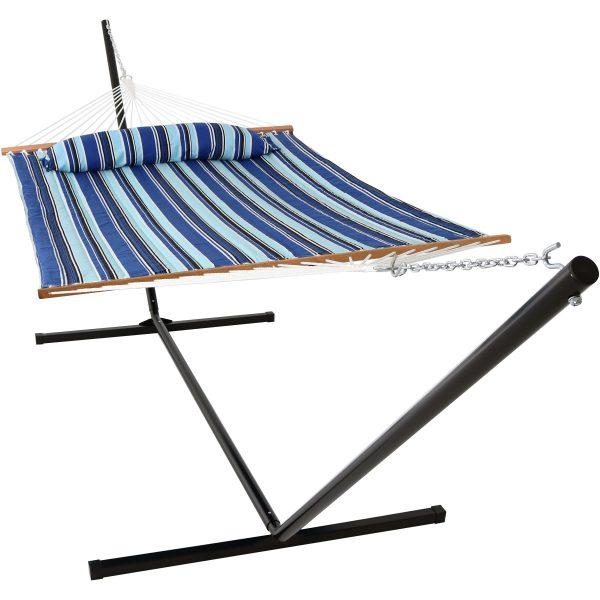 Sunnydaze 2 Person Freestanding Quilted Fabric Spreader Bar Hammock, Choose 12 or 15 Foot Stand, Catalina Beach, 15-Foot Stand