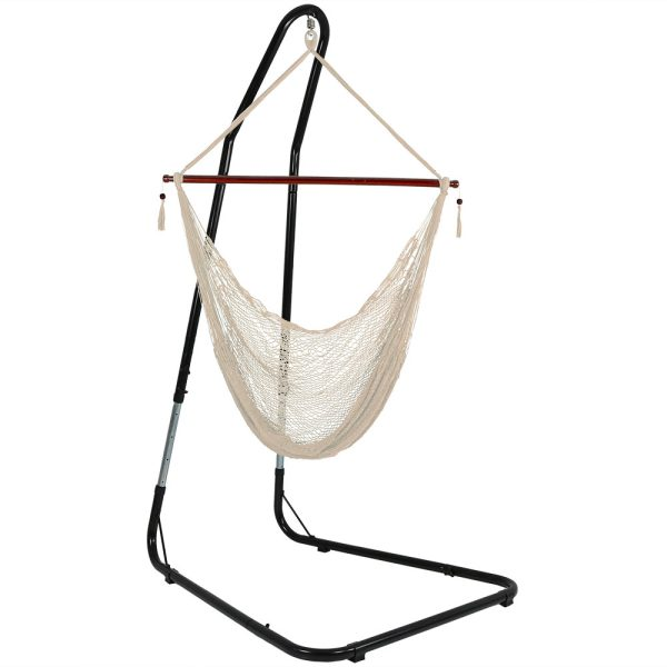 Sunnydaze Hanging Cabo Extra Large Hammock Chair, 47 Inch Wide Spreader Bar, Max Weight: 360 Pounds, Color Options Available, Cream, Hammock Chair with Stand