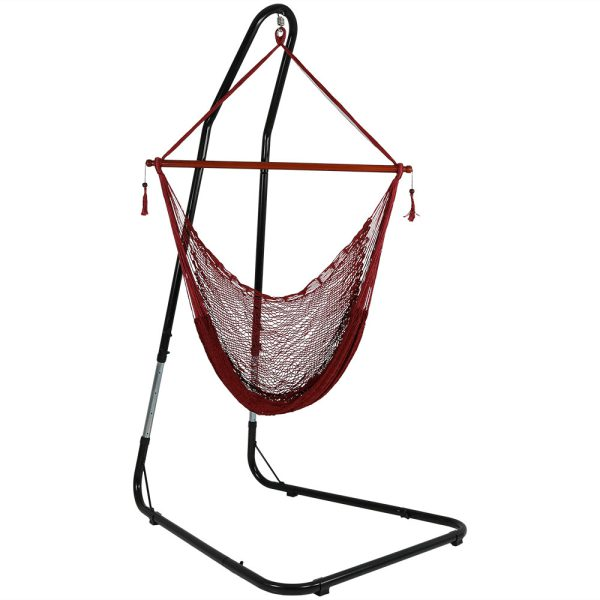 Sunnydaze Hanging Cabo Extra Large Hammock Chair, 47 Inch Wide Spreader Bar, Max Weight: 360 Pounds, Color Options Available, Red, Hammock Chair with Stand