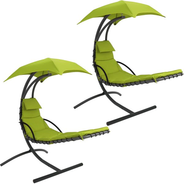 Sunnydaze Floating Chaise Lounger Swing Chair With Canopy - Apple Green - 2PK