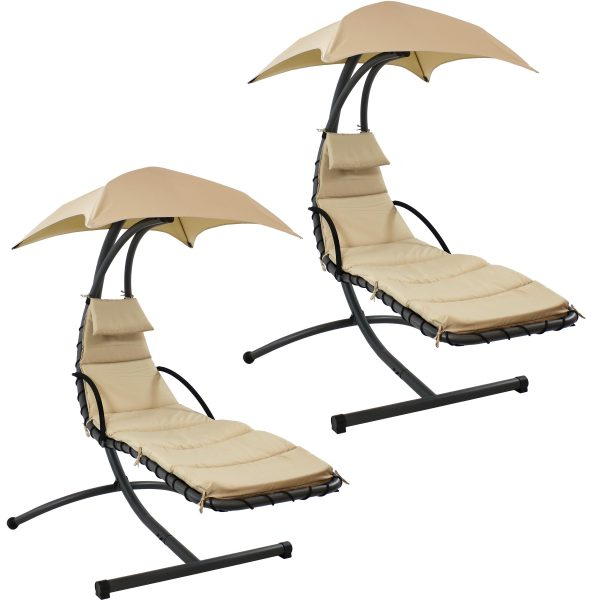 Sunnydaze Floating Chaise Lounger Swing Chair With Canopy - Beige - 2PK