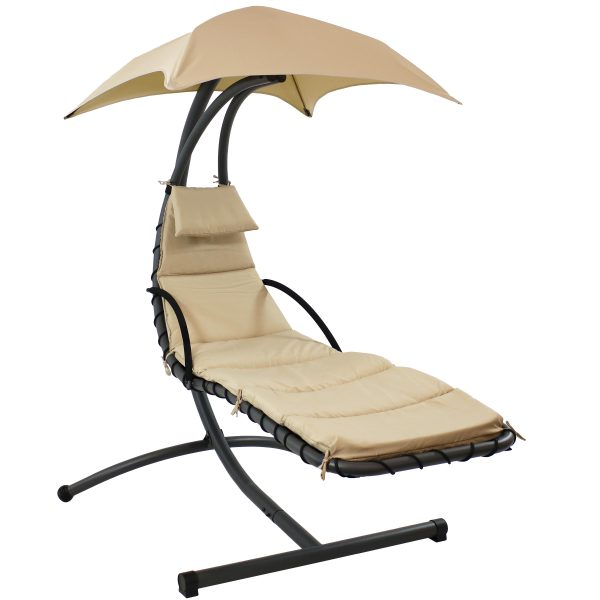 Sunnydaze Floating Chaise Lounge Chair, 260 Pound Capacity, Beige