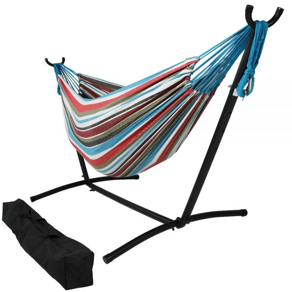 Sunnydaze Brazilian Double Hammock with Stand- 2-Person, for Outdoor Use, Cool Breeze