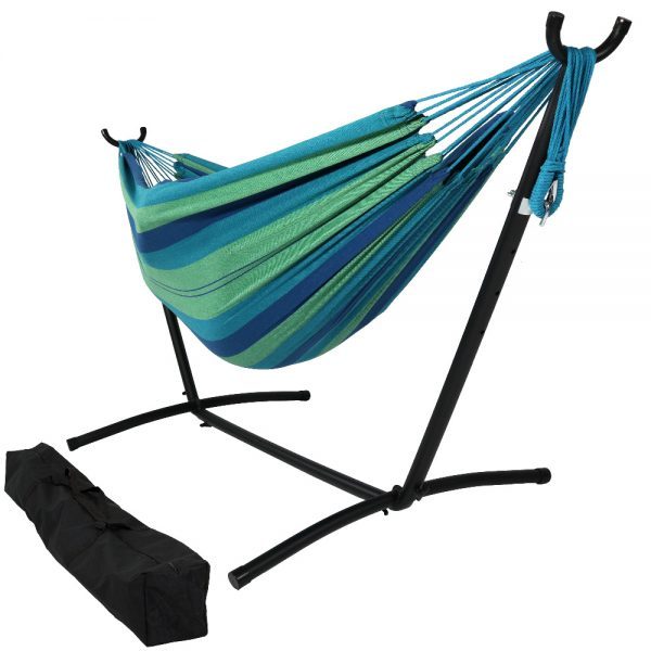 Sunnydaze Brazilian Double Hammock with Stand- 2-Person, for Outdoor Use, Beach Oasis