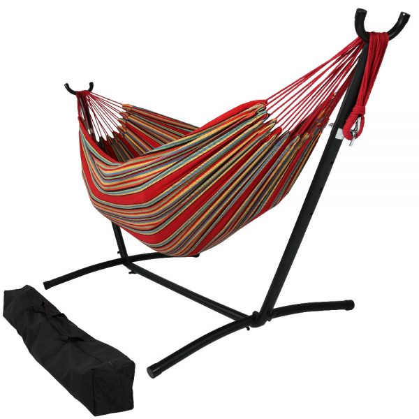 Sunnydaze Brazilian Double Hammock with Stand- 2-Person, for Outdoor Use, Sunset