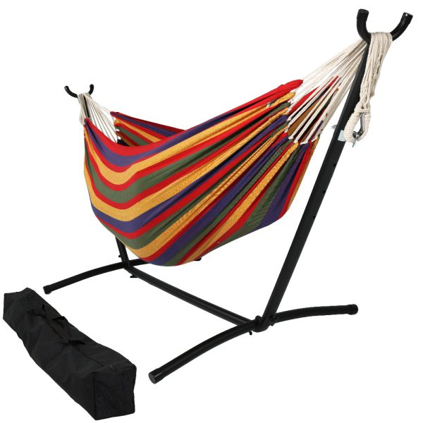 Sunnydaze Brazilian Double Hammock with Stand- 2-Person, for Outdoor Use, Tropical