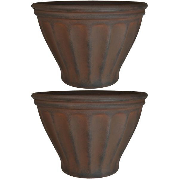 Sunnydaze Charlotte Indoor and Outdoor Resin Planter, Rust Finish, 16-Inch Diameter, Set of Two