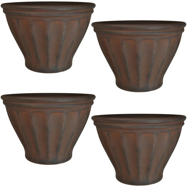 Sunnydaze Charlotte Indoor and Outdoor Resin Planter, Rust Finish, 16-Inch Diameter, Set of Four