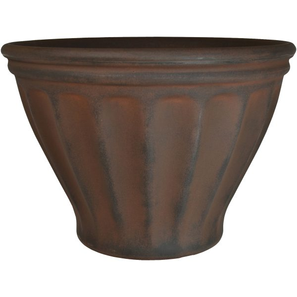 Sunnydaze Charlotte Indoor and Outdoor Resin Planter, Rust Finish, 16-Inch Diameter, Single