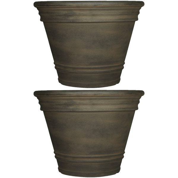 Sunnydaze Franklin Indoor and Outdoor Resin Planter, Sable Finish, 20-Inch Diameter, Set of Two