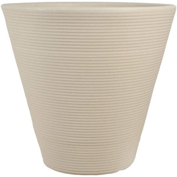 Sunnydaze Walter Ribbed Cone Indoor/Outdoor Planter Pot, Antique White Finish, 16-Inch Diameter, Single