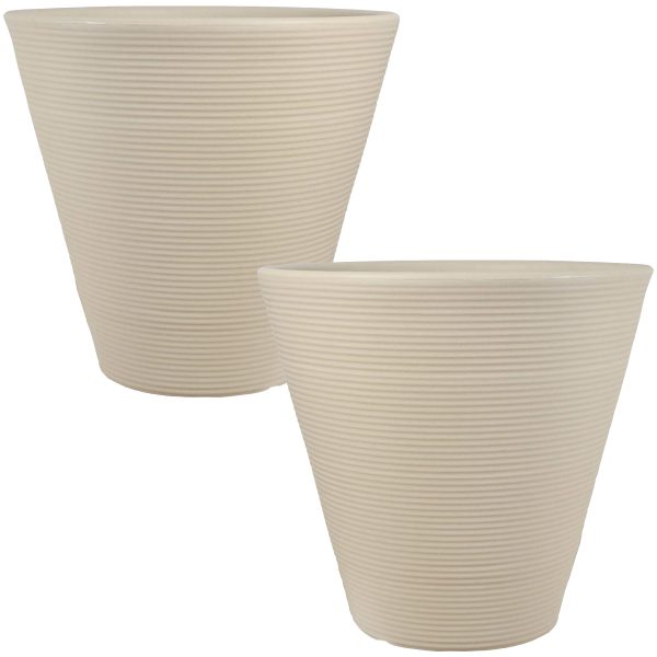 Sunnydaze Walter Ribbed Cone Indoor/Outdoor Planter Pot, Antique White Finish, 16-Inch Diameter, Set of Two