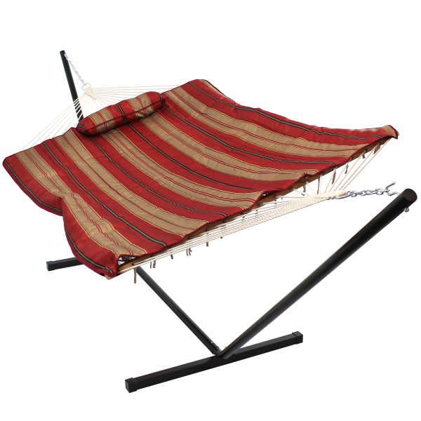 Sunnydaze Cotton Rope Hammock with 12 Foot Steel Stand, Pad and Pillow, 275 Pound Capacity, Awning Stripe