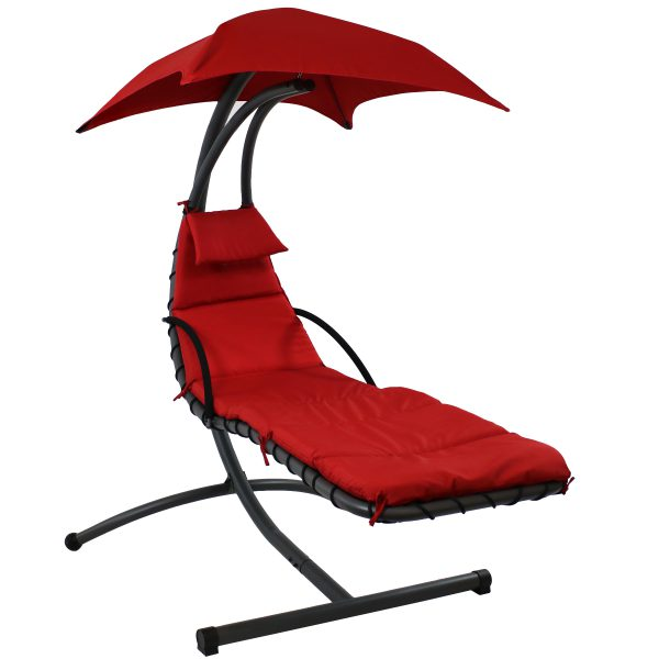 Sunnydaze Floating Chaise Lounge Chair, 260 Pound Capacity, Red