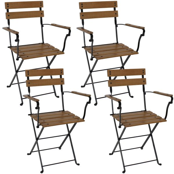 Basic European Chestnut Wood Folding Bistro Chair with Arms Set of 4