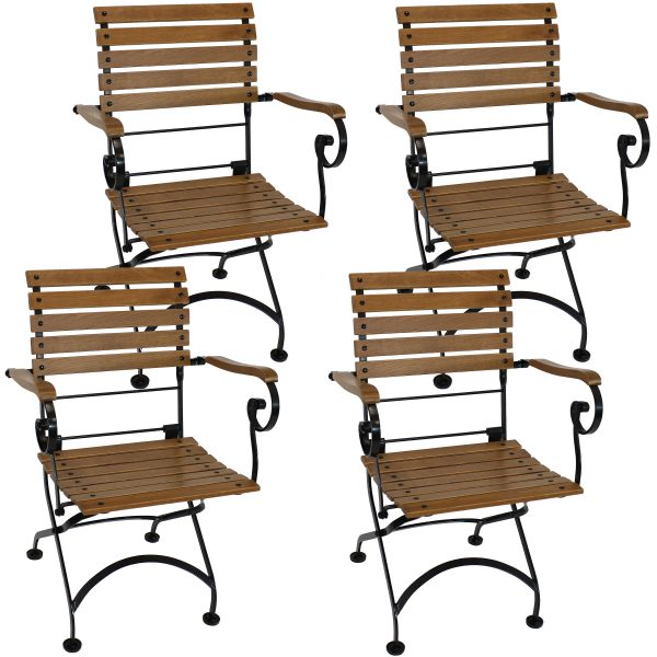 Deluxe European Chestnut Wood Folding Bistro Chair with Arms Set of 4