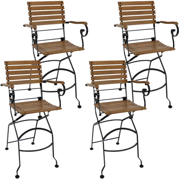 Deluxe European Chestnut Wood Folding Bistro Bar Chair with Arms Set of 4