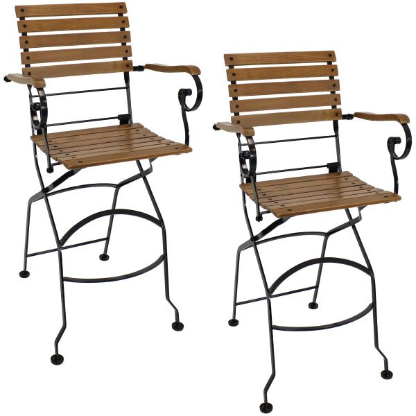 Sunnydaze Deluxe European Chestnut Folding Bistro Bar Chair with Arms - Set of 2