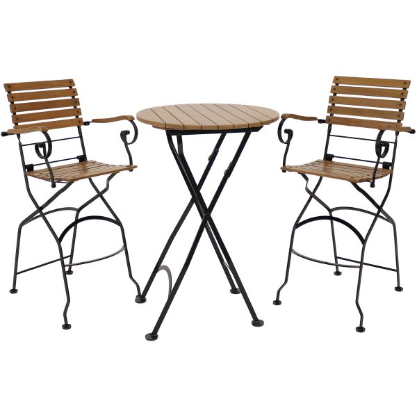 Sunnydaze Deluxe European Chestnut Wood 3-Piece Folding Table and Chair Set