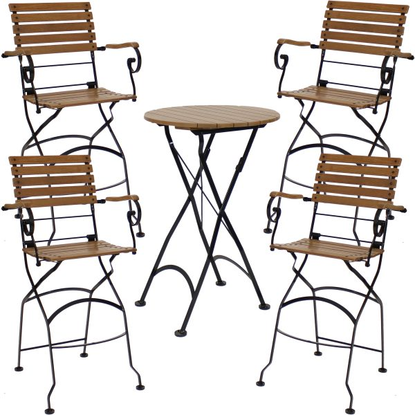 Sunnydaze Deluxe European Chestnut Wood 5-Piece Bar Height Folding Table and Bar Chair Set