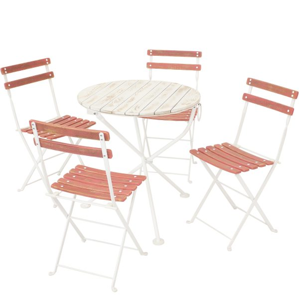 Sunnydaze Classic Cafe Chestnut Wooden Folding Bistro Table and Chairs, 5-Piece Set