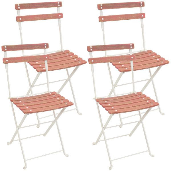 Classic Cafe European Chestnut Wood Bistro Folding Chair - Antique Pink Finish Set of 4