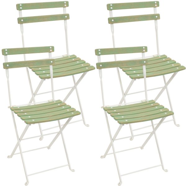Classic Cafe European Chestnut Wood Bistro Folding Chair - Antique Green Finish Set of 4