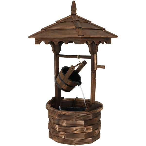 Sunnydaze Old-Fashioned Wood Wishing Well Fountain with Liner 48-Inch