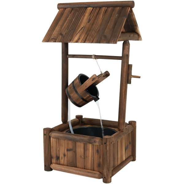 Sunnydaze Rustic Wood Wishing Well Outdoor Fountain with Liner 46-Inch Tall