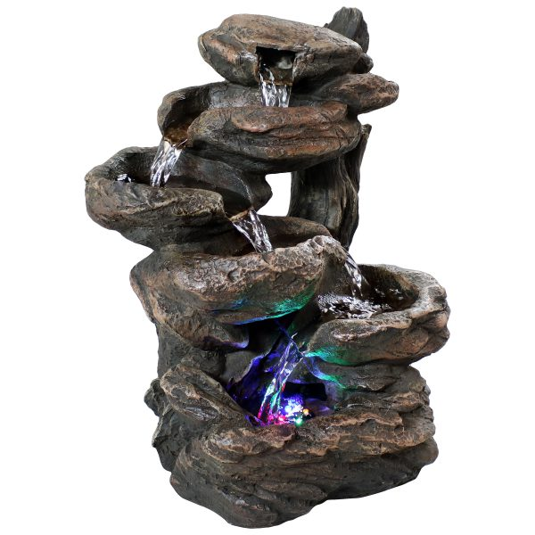 Sunnydaze Staggered Rock Falls Tabletop Fountain with LED Lights - 11 Inch Wide