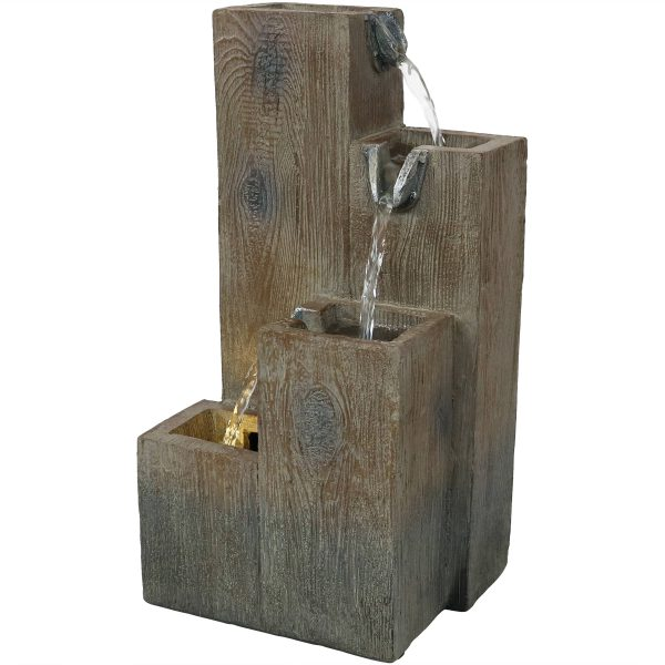 Sunnydaze Faux Wooden Tiered Columns Tabletop Water Fountain with LED - 13-Inch